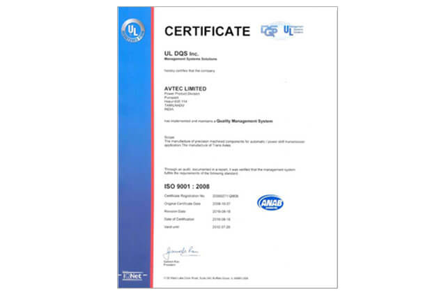 Quality Management System, ISO 9001 : 2008