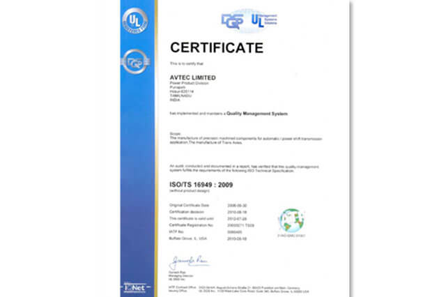Quality Management System, ISO/TS 16949 : 2009