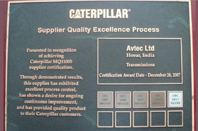 Supplier Quality Excellence Process CIPL Silver Award in 2011