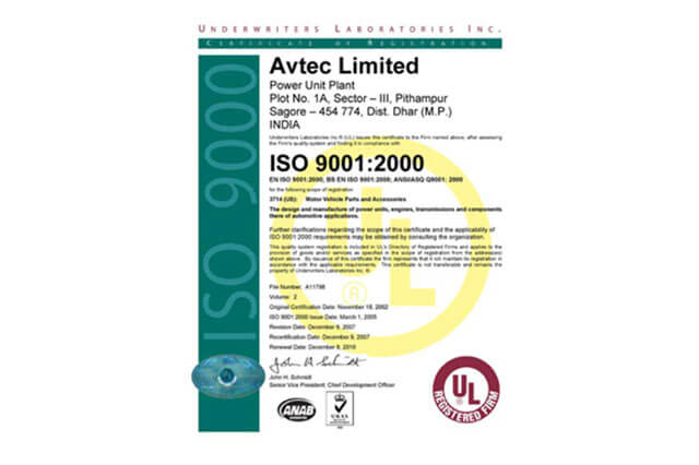 ISO 9001: 2000 certificate to Power Unit Plant, Pithampur, by Underwriters Laboratories.