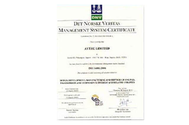 ISO 14001: 2004 certificate from DET NORSKE VERITAS to Power unit plant, Pithampur