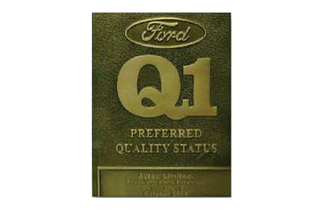 'Q1' quality status award from Ford India