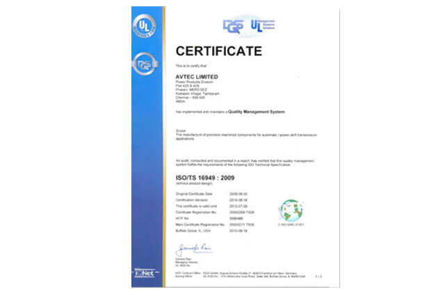 ISO/TS 16949:2009Certificate on Quality Management System to Power Product Division, Hosur by Underwriters Laboratories.