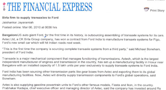 Birla firm to supply transaxles to ford The Financial Express, Bangalore