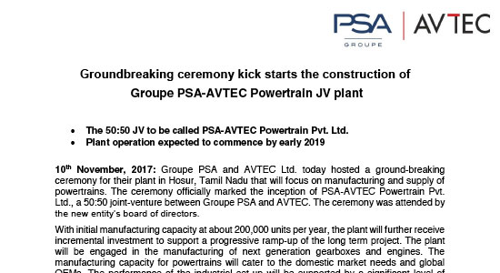 Groupe PSA-AVTEC Powertrain JV plant