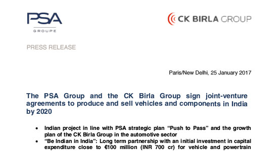 The CK Birla Group and the PSA Group sign joint-venture